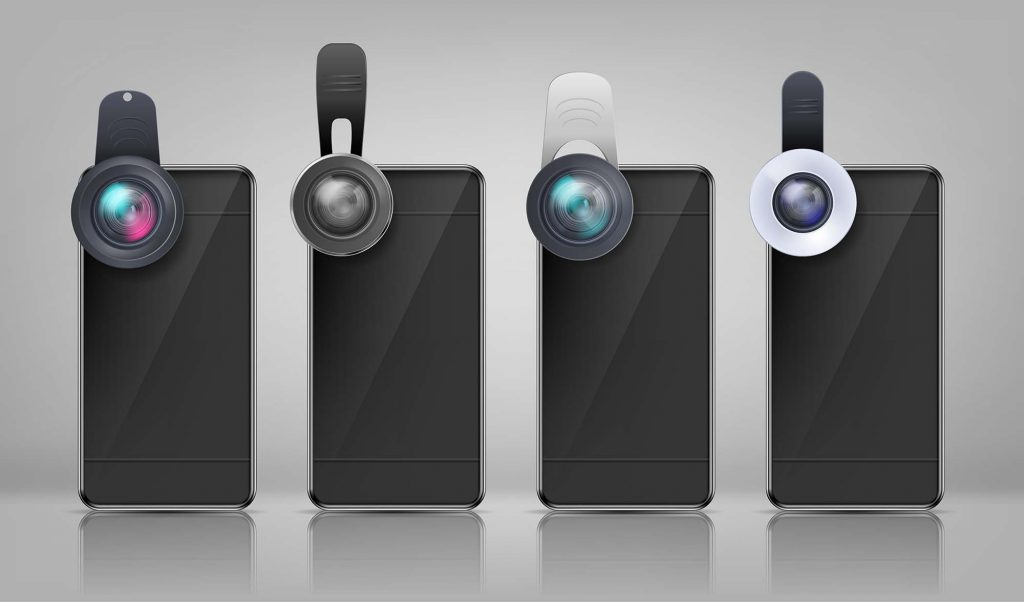 smartphone photography Vector black smartphones with clip-on lenses