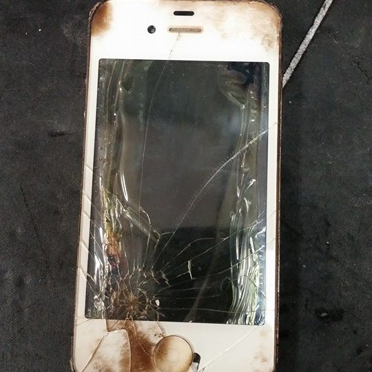 Cracked LCD. Phone dropped at a fire scene.